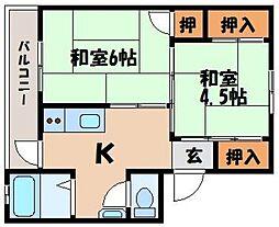 ビレッジハウス宮ヶ迫3[4階]の間取り