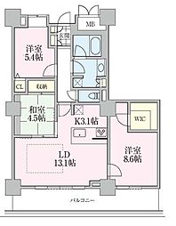 東京メトロ日比谷線 南千住駅 徒歩5分の賃貸マンション 29階3LDKの間取り