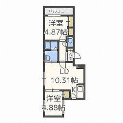 北海道札幌市白石区東札幌五条5丁目の賃貸マンションの間取り