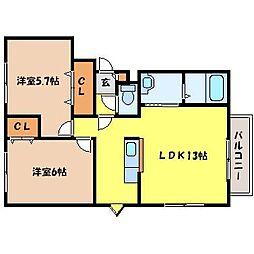 北海道札幌市中央区南二十三条西9丁目の賃貸マンションの間取り