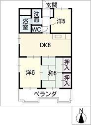 グランドール矢田[5階]の間取り