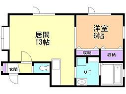 喜多町ビレッジ 2階1LDKの間取り