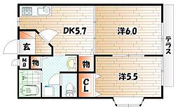 プレジデントタカヤ6 B棟[1階]の間取り