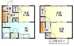 [テラスハウス] 神奈川県小田原市東町1丁目 の賃貸【/】の間取り