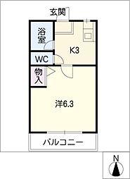 シティハイム ホソカワAB[2階]の間取り