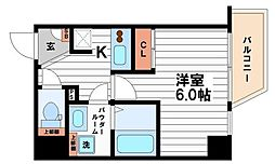 JR大阪環状線 寺田町駅 徒歩6分の賃貸マンション 5階1Kの間取り