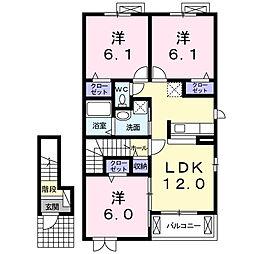 愛知県名古屋市名東区大針3丁目の賃貸アパートの間取り