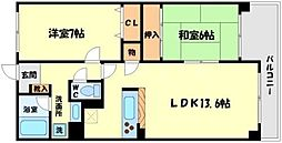 フォンティーヌ江坂[1階]の間取り