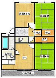 サンシャイン濱田[1階]の間取り