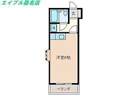 三重県桑名市今北町の賃貸マンションの間取り