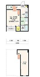 愛知県名古屋市東区東大曽根町の賃貸アパートの間取り
