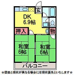 千葉県佐倉市南臼井台の賃貸アパートの間取り