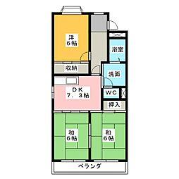 愛知県名古屋市港区七反野2丁目の賃貸マンションの間取り