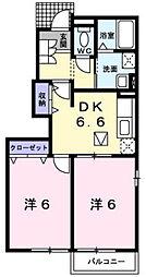 メリオルA棟[103号室]の間取り
