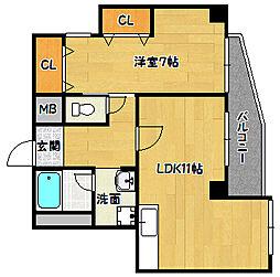 兵庫県神戸市兵庫区水木通6丁目の賃貸マンションの間取り