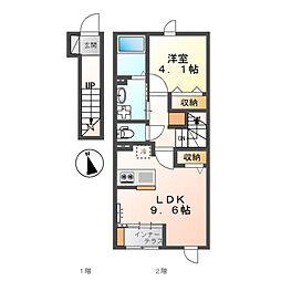 加東市喜田1丁目新築アパート 2階1LDKの間取り