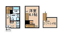 愛知県名古屋市中川区春田4丁目の賃貸アパートの間取り