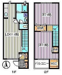 [テラスハウス] 埼玉県さいたま市桜区西堀7丁目 の賃貸【/】の間取り