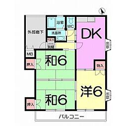 エクセレントスズキA棟 2階3DKの間取り