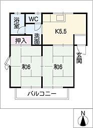 コーポ屋敷山[2階]の間取り