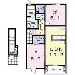 上石川アパートB[0203号室]の間取り
