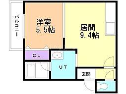 Urban Place 2nd(アーバンプレイスセカンド) 3階1LDKの間取り
