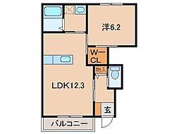 JR阪和線 紀伊中ノ島駅 徒歩23分の賃貸マンション 1階1LDKの間取り