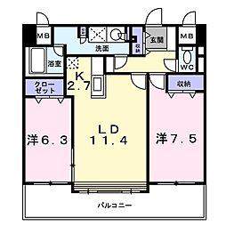 北海道札幌市白石区北郷二条6丁目の賃貸マンションの間取り