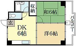 アクアエルフ上賀茂[6階]の間取り
