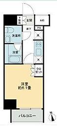 JR山手線 五反田駅 徒歩9分の賃貸マンション 8階1Kの間取り