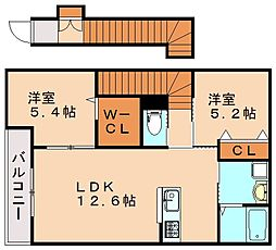 福岡県飯塚市秋松の賃貸アパートの間取り