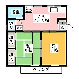 西田フラッツ[2階]の間取り