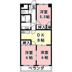 岐阜県羽島市足近町6丁目の賃貸アパートの間取り