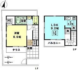 都営大江戸線 練馬春日町駅 徒歩2分の賃貸アパート 2階1LDKの間取り