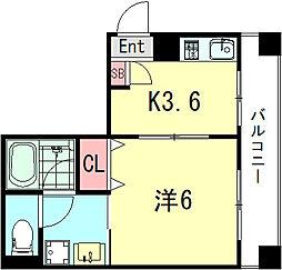 コウリュウマンション 2階1Kの間取り