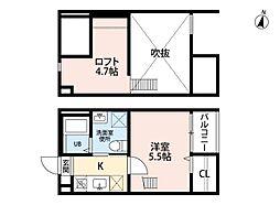 愛知県名古屋市南区堤町1丁目の賃貸アパートの間取り