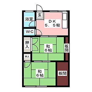 間取り,2DK,面積40m2,賃料4.5万円,JR武蔵野線 東浦和駅 徒歩8分,,埼玉県さいたま市緑区大字大牧