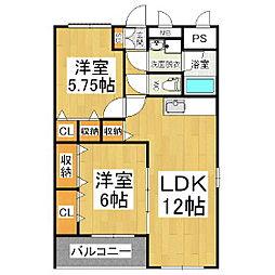ファミリーマンション紺屋[2階]の間取り