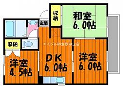 岡山県倉敷市玉島阿賀崎の賃貸アパートの間取り