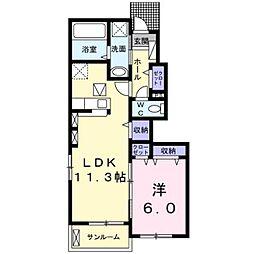 熊本電気鉄道 御代志駅 7.7kmの賃貸アパート 1階1LDKの間取り