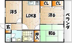 ロマネスク志井[4階]の間取り