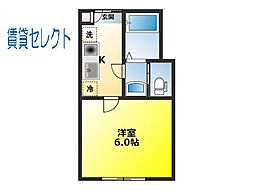 千葉県松戸市上本郷の賃貸アパートの間取り