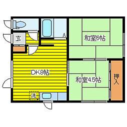 居鶴邸アパート[2号室]の間取り