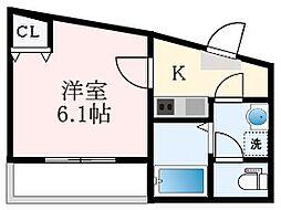 Osaka Metro四つ橋線 玉出駅 徒歩5分の賃貸マンション 5階1Kの間取り