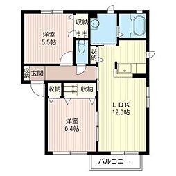 スクエア平松C[2階]の間取り
