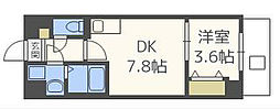 サンライズ今川 2階1DKの間取り
