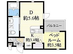 グランフォレスタ吹田東 4階1Kの間取り