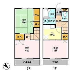 [テラスハウス] 埼玉県越谷市蒲生西町1丁目 の賃貸【/】の間取り