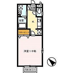 広島県安芸郡府中町石井城2丁目の賃貸アパートの間取り