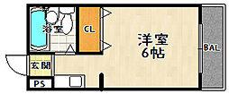 京都府京都市山科区八軒屋敷町の賃貸アパートの間取り